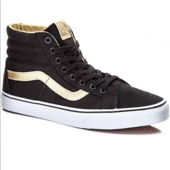 4c3a91e92219 Black + Gold Vans Sk8 Hightops. M 5bd142299519969bb32c4544